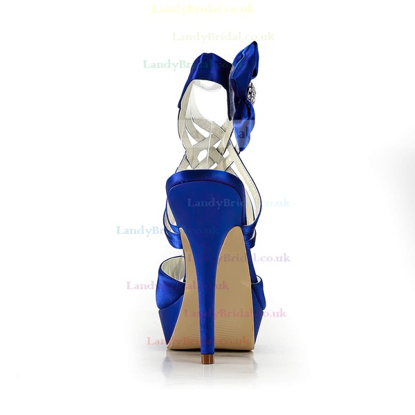 Women's Satin with Bowknot Ribbon Tie Crystal Stiletto Heel Sandals Peep Toe Platform Slingbacks