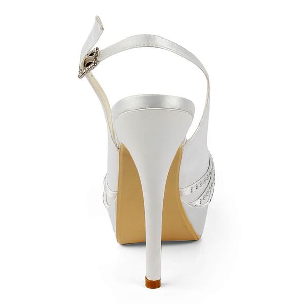 Women's Satin with Buckle Ribbon Tie Beading Stiletto Heel Sandals Peep Toe Platform Slingbacks