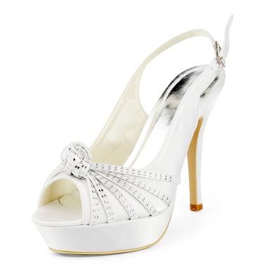 Women's Satin with Buckle Ribbon Tie Beading Stiletto Heel Sandals Peep Toe Platform Slingbacks #LDB03030172