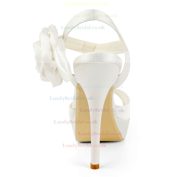 Women's Satin with Flower Stiletto Heel Peep Toe Platform Slingbacks