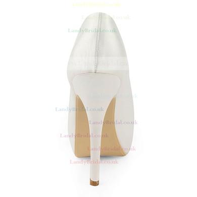 Women's Satin with Flower Stiletto Heel Pumps Peep Toe Platform #LDB03030174