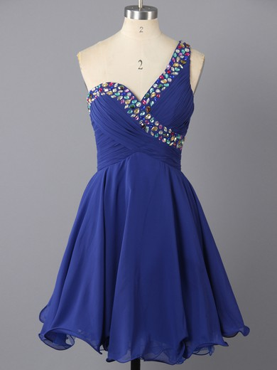 One Shoulder Short/Mini Chiffon Crystal Detailing Vintage Royal Blue Prom Dress #LDB02041941