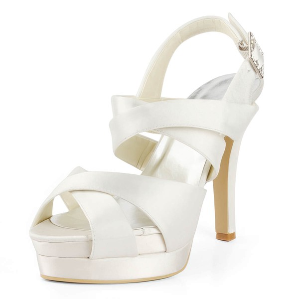 Women's Satin with Buckle Stiletto Heel Sandals Peep Toe Platform Slingbacks #LDB03030175