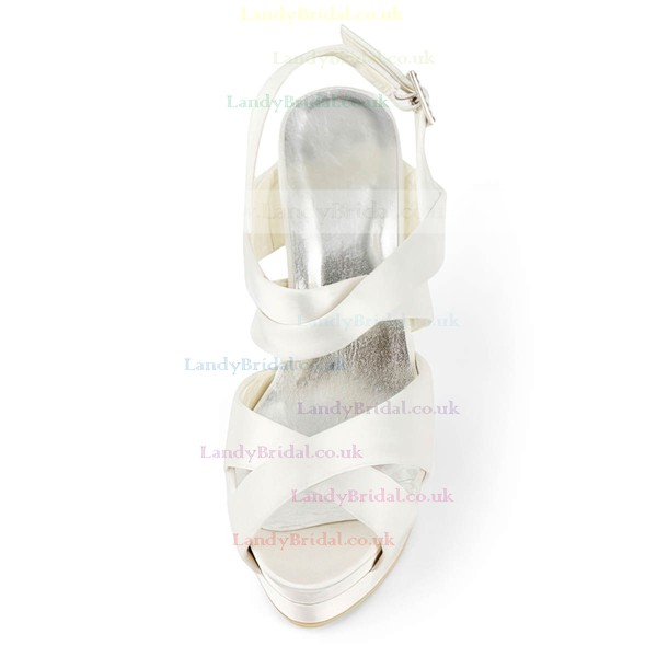 Women's Satin with Buckle Stiletto Heel Sandals Peep Toe Platform Slingbacks