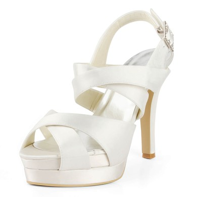 Women's Satin with Buckle Stiletto Heel Sandals Peep Toe Platform Slingbacks #LDB03030175