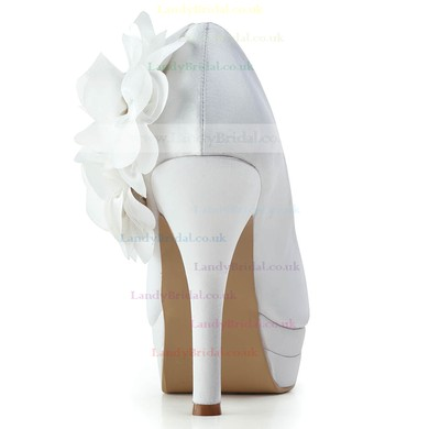 Women's Satin with Flower Stiletto Heel Pumps Closed Toe Platform #LDB03030176