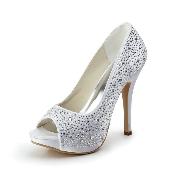 Women's Satin with Crystal Stiletto Heel Pumps Peep Toe Platform #LDB03030177