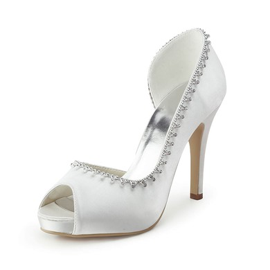 Women's Satin with Crystal Stiletto Heel Pumps Peep Toe Platform #LDB03030178