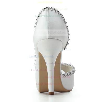 Women's Satin with Crystal Stiletto Heel Pumps Peep Toe Platform #LDB03030178