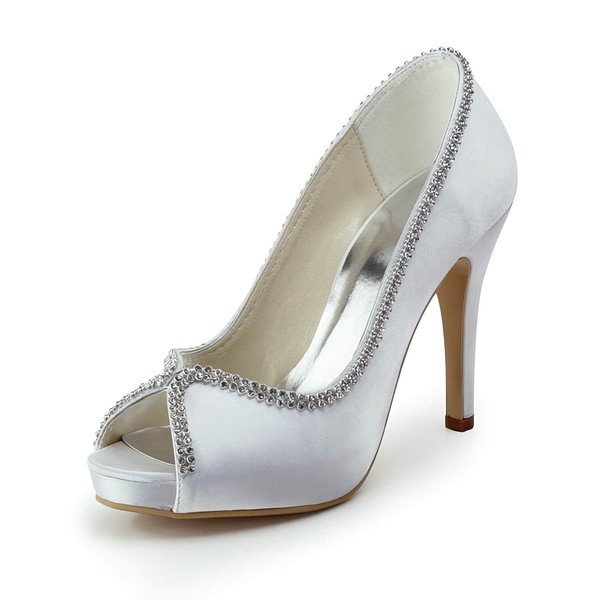 Women's Satin with Crystal Stiletto Heel Platform Peep Toe Pumps #LDB03030179
