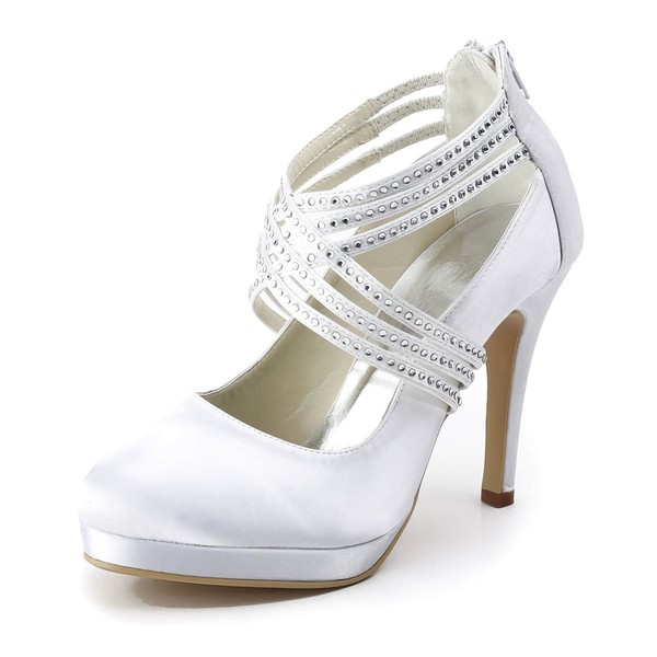 Women's Satin with Ribbon Tie Crystal Stiletto Heel Pumps Closed Toe Platform #LDB03030181
