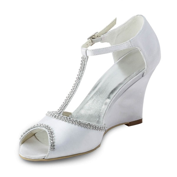 Women's Satin with Buckle Crystal Wedge Heel Sandals Peep Toe Wedges #LDB03030182