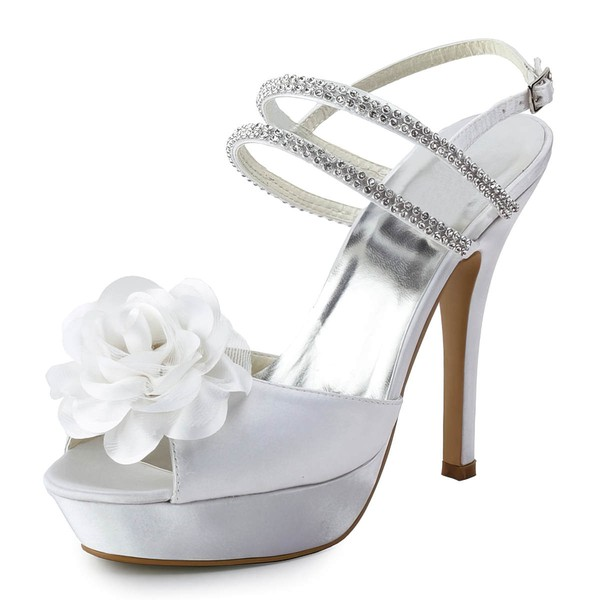 Women's Satin with Buckle Flower Crystal Stiletto Heel Sandals Peep Toe Platform Slingbacks