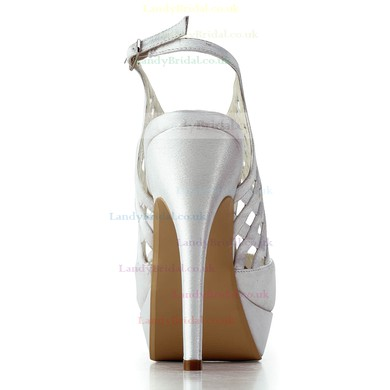Women's Satin with Buckle Braided Strap Stiletto Heel Sandals Peep Toe Platform Slingbacks #LDB03030184