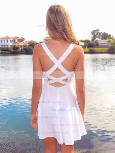 Short/Mini White Chiffon and Gold Sequined Crossed Straps Sweetheart Prom Dress #LDB02042066