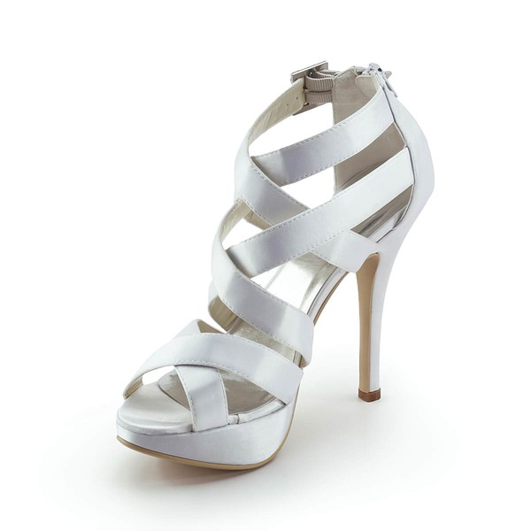 Women's Satin with Buckle Stiletto Heel Pumps Peep Toe Platform #LDB03030185
