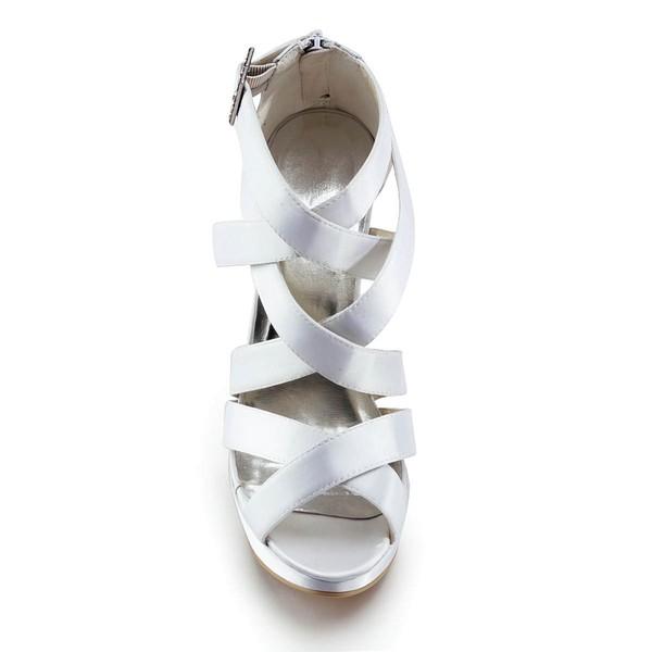 Women's Satin with Buckle Stiletto Heel Pumps Peep Toe Platform