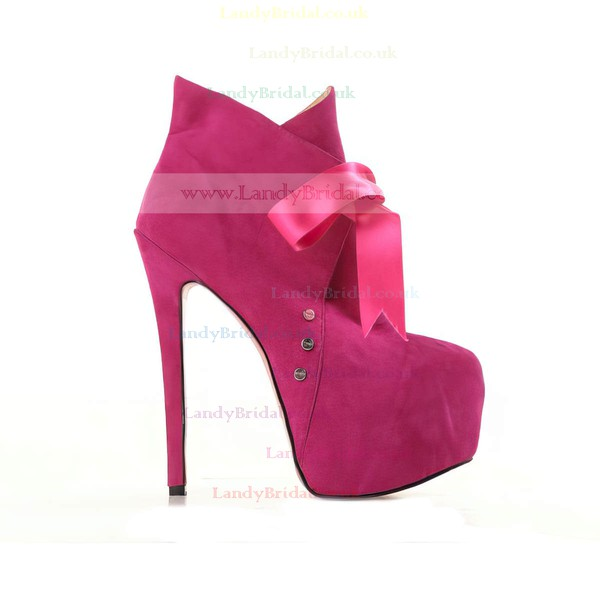 Women's Fuchsia Suede Pumps/Closed Toe/Platform with Lace-up