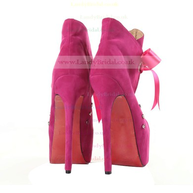 Women's Fuchsia Suede Pumps/Closed Toe/Platform with Lace-up #LDB03030191