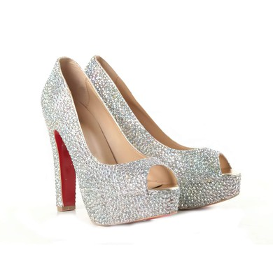 Women's Multi-color Suede Pumps/Peep Toe/Platform with Crystal #LDB03030192
