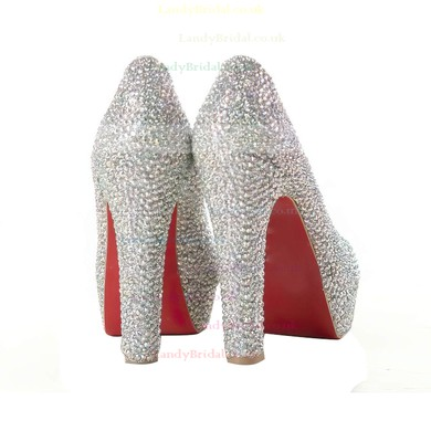 Women's Multi-color Suede Pumps/Peep Toe/Platform with Crystal #LDB03030192