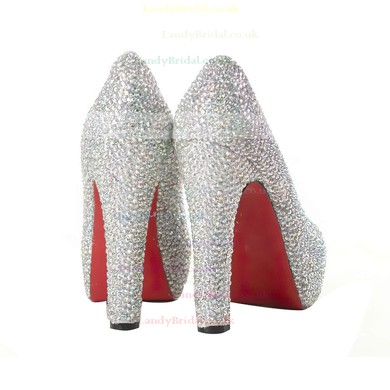 Women's Multi-color Suede Pumps/Closed Toe/Platform with Crystal #LDB03030193