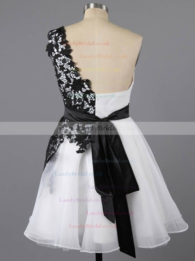 Fashion Short/Mini White Tulle and Black Appliques Lace One Shoulder Prom Dresses #LDB02042082