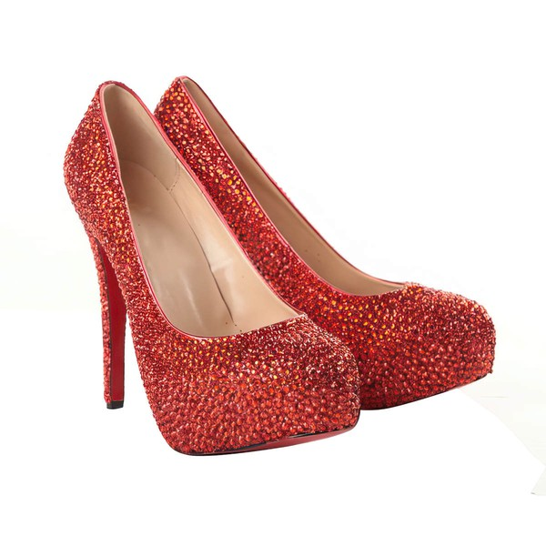 Women's Red Suede Pumps/Closed Toe/Platform with Crystal #LDB03030198