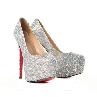Women's Multi-color Suede Pumps/Closed Toe/Platform with Crystal #LDB03030199