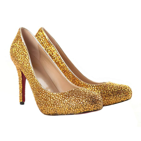 Women's Gold Suede Pumps/Closed Toe with Crystal #LDB03030202