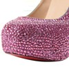 Women's Fuchsia Suede Pumps/Closed Toe/Platform with Crystal #LDB03030203