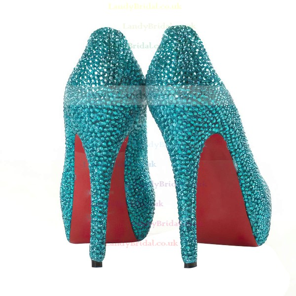 Women's Blue Suede Pumps/Closed Toe/Platform with Crystal