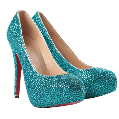 Women's Blue Suede Pumps/Closed Toe/Platform with Crystal #LDB03030204