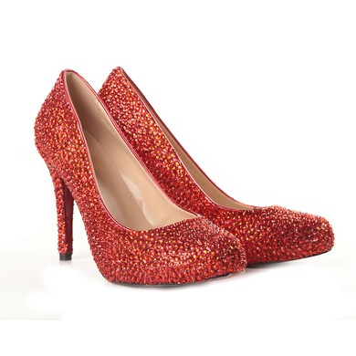 Women's Red Suede Pumps/Closed Toe with Crystal #LDB03030206