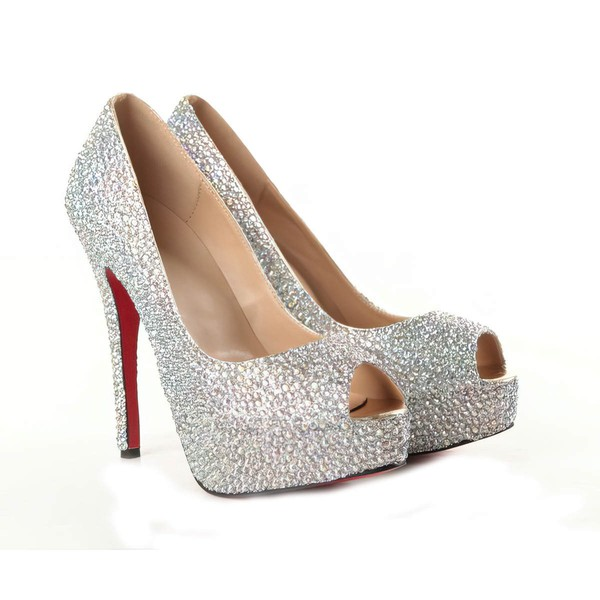 Women's Multi-color Suede Platform/Peep Toe/Pumps with Crystal #LDB03030209