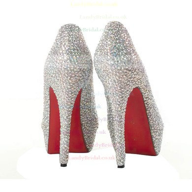 Women's Multi-color Suede Platform/Peep Toe/Pumps with Crystal #LDB03030209