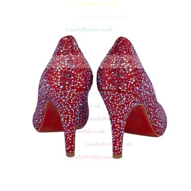 Women's Red Suede Closed Toe/Pumps with Crystal Heel/Sparkling Glitter #LDB03030211