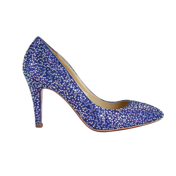 Women's Blue Suede Closed Toe/Pumps with Crystal/Crystal Heel #LDB03030212