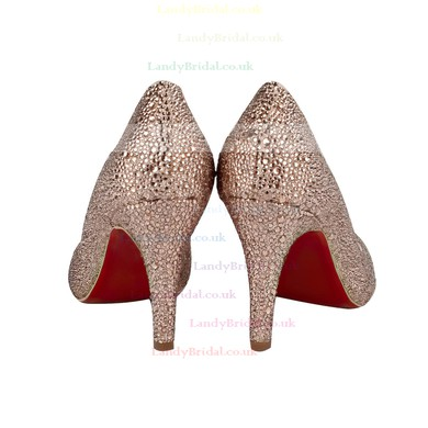 Women's Champagne Suede Closed Toe/Pumps with Crystal/Sparkling Glitter/Crystal Heel #LDB03030213