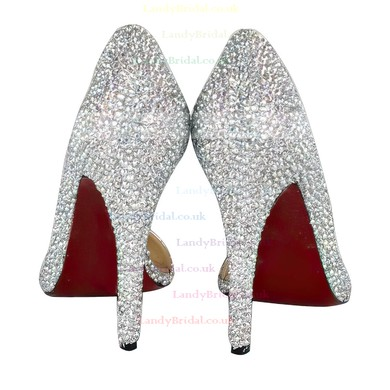 Women's Multi-color Suede Closed Toe/Pumps with Crystal Heel/Crystal #LDB03030214