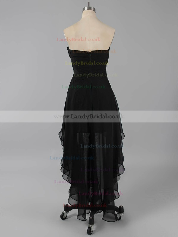 Unique Sweetheart Black Asymmetrical Chiffon Beading High Low Prom Dress #LDB02042216