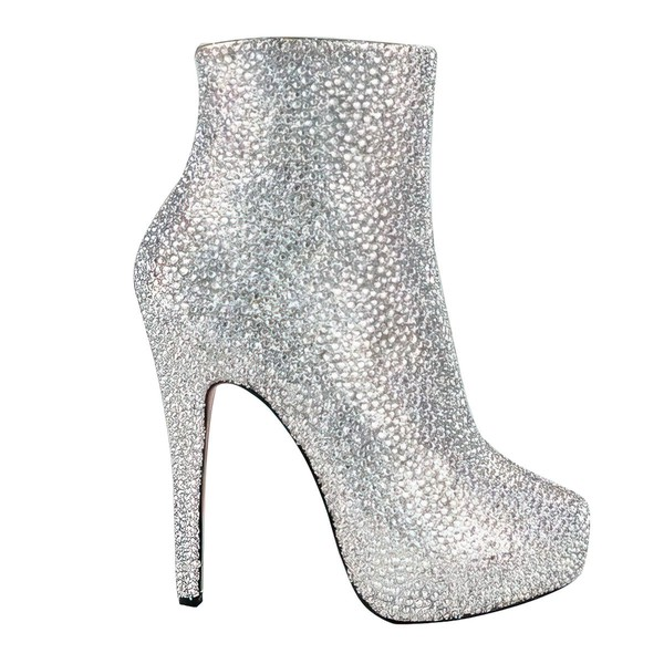 Women's Multi-color Suede Boots with Crystal Heel/Rhinestone #LDB03030215