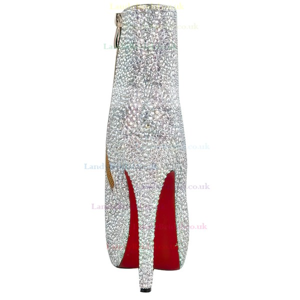 Women's Multi-color Suede Boots with Crystal Heel/Rhinestone