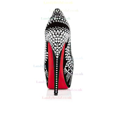 Women's Silver Suede Platform/Pumps with Rhinestone/Jewelry Heel #LDB03030218