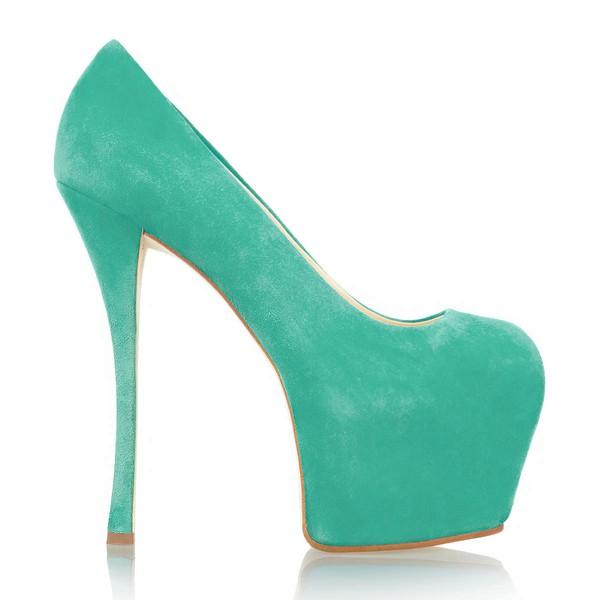 Women's Green Cloth Pumps/Peep Toe/Platform