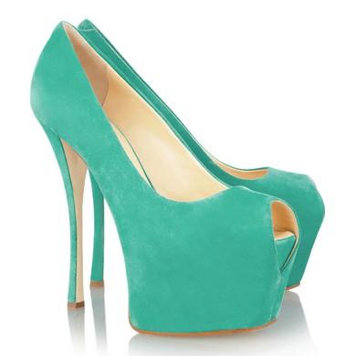 Women's Green Cloth Pumps/Peep Toe/Platform #LDB03030219
