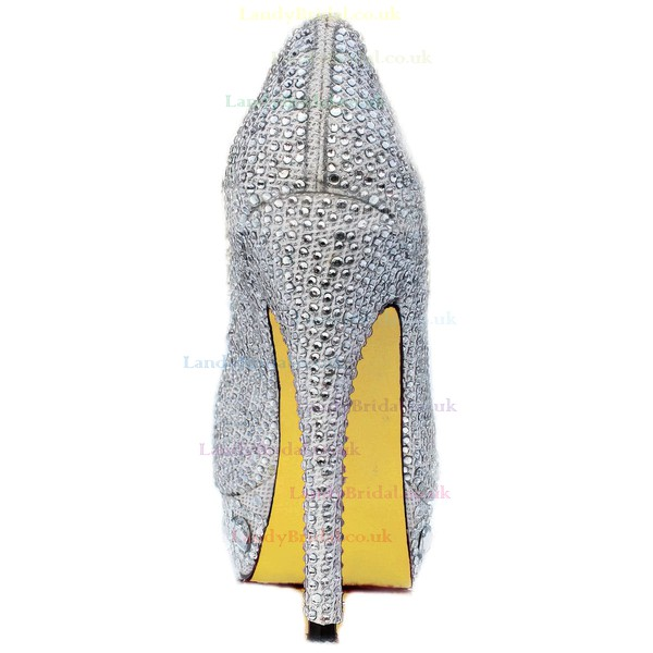 Women's Silver Sparkling Glitter Pumps/Peep Toe/Platform with Crystal Heel/Rhinestone