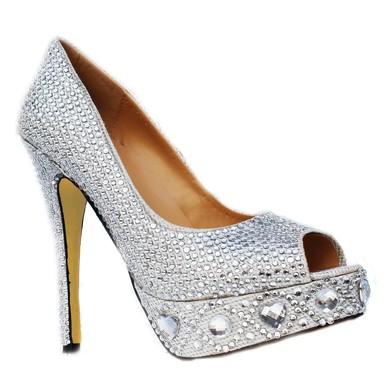 Women's Silver Sparkling Glitter Pumps/Peep Toe/Platform with Crystal Heel/Rhinestone #LDB03030220