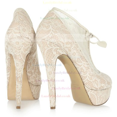 Women's Champagne Lace Pumps/Closed Toe/Platform with Ribbon Tie #LDB03030221