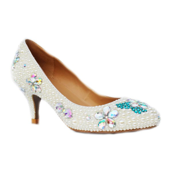 Women's Ivory Patent Leather Closed Toe/Pumps with Rhinestone/Imitation Pearl #LDB03030222